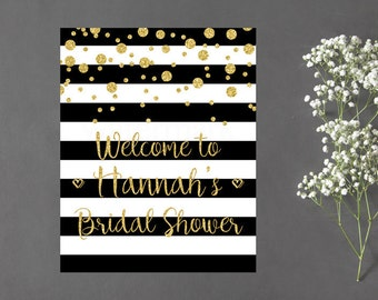 Bridal Shower Welcome Sign, Black and White Stripe Gold Confetti Bridal Shower Printable, Digital Print PDF