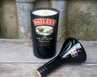 Baileys Irish Cream Coffee Scented Candle, Fun Upcycled Bottle Home Decor