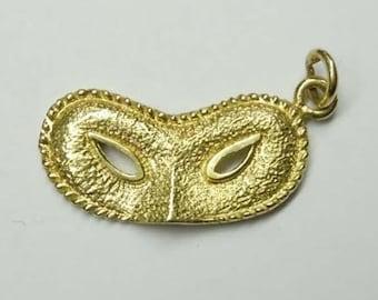 14Kt Gold Masquerade Face Mask Charm Pendant Mardi Gras