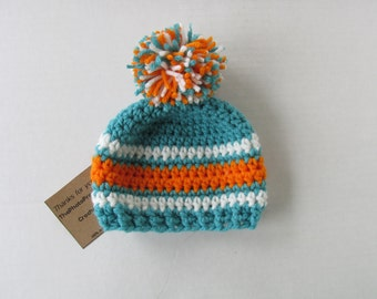 Hat in Miami colors~Micro preemie up to Adult sizes- with or without Pom pom-Aqua/Turquoise, white and orange
