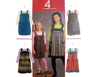 Girls A-Line Jumper Sewing Pattern, Pullover, Shoulder Strap, Bubble Hem, Toddler Size 3, 4, 5, 6 Uncut McCall's M5694