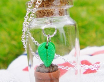 Leaf Terrarium Glass Bottle Necklace Fauna Natural Pagan