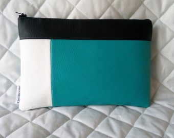Aquamarine and White  Faux Leather Colour Block Clutch
