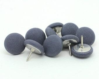 10 Small Grey Fabric Push Pins, Grey Drawing Pins, Grey Thumb Tacks