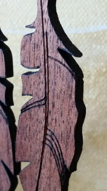 Feather Earrings, Walnut wood