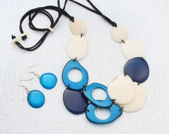 Blue Bead Necklace Set of Tagua Nut - Big Chunky Necklace for Women - Eco Friendly Jewelry - Presents for Her - Fair Trade Gifts 1590