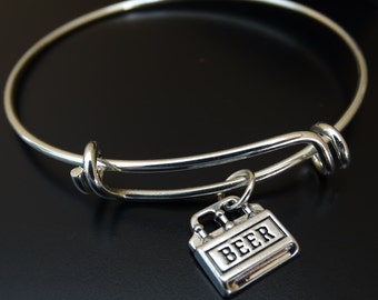 Six Pack of Beer Bangle Bracelet, Beer Bangle, Adjustable Expandable Bangle Bracelet, Beer Bracelet, Beer Charm, Beer Pendant, Beer Girl