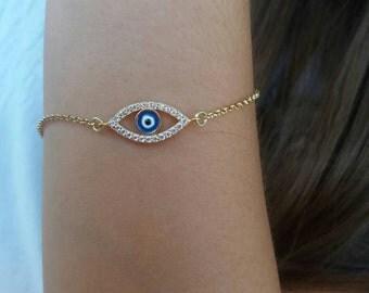 Evil eye bracelet gold, zircon bracelet, oval evil eye, dainty evil eye bracelet, evil eye gold filled, protection charm, blue evil eye gold
