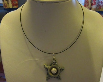 black stainless steel choker necklace with starfish pendant drop
