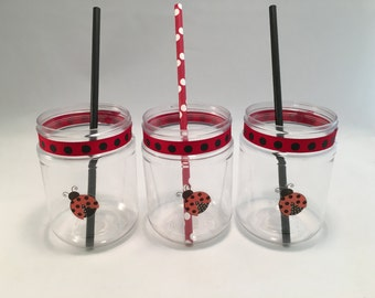 Ladybug Plastic Mason Jar Drink Cups or Favor Pots: Ladybug plastic drink cup, Insect Party,  Ladybug Party Supplies