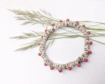 Fiber bracelet, felt bracelet, wool fibre bangle, red beads, eco bracelet