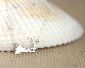 Cape Cod Necklace - Boston pride, New england pride, sterling silver I heart Cape Cod, Massachusetts map jewelry, P-Town