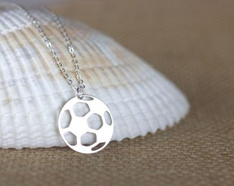 Silver Soccer Necklace, Football Jewelry, Soccer Jewelry, Hobby, Soccer mom jewelry