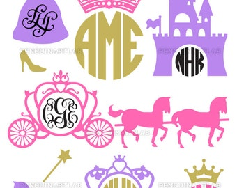 Princess Carriage Monogram Frames SVG Cutting Files - Kingdom Cut Files for Cutting Machines - Cricut, Silhouette - svg, dxf, eps, studio3