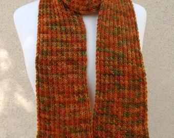 Knit Scarf, Autumn Colors, Merino Wool, Orange Scarf, Orange Green Scarf, Rib Knit Scarf
