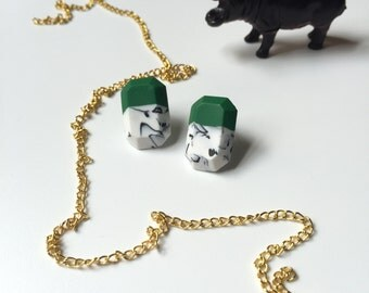 Green Harlequin Marble Studs