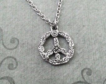 Peace Sign Necklace SMALL Silver Peace Jewelry Flower Peace Necklace Bohemian Necklace Hippie Jewelry Peace Symbol Necklace Peace Wreath