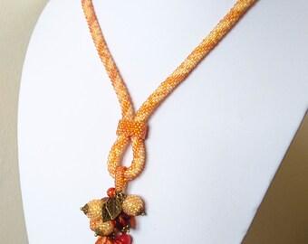 Golden Bead Crochet Necklace - Beadwork - Gift For women - Seed Bead Necklace - Beadwork Jewelry - Gift For Her - Birthday Gift - FREE GIFT