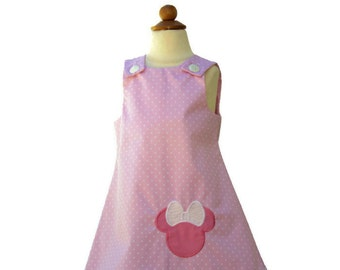 Minnie Mouse birthday outfit  Aline Minnie dress Girl Minnie age name dress Girl birthday A-line Minnie pink dress Girl  Aline dress