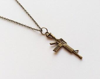 MACHINE GUN Necklace Weapon Necklace Gun Jewelry Gun Gift Soldier Jewelry Soldier Gift Soldier Necklace Weapon Gift Big Machine Gun Charm