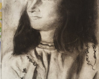 Anne Frank Charcoal Drawing