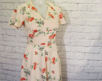 Size 6 1990s does 1960s Pink Red Floral Dress, Short Bell Sleeves, Empire Waist Panel, A Line, Ankle Length, V Neckline