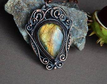 Labradorite jewelry, wire wrapped labradorite, wire wrap, wire wrapped gemstone, golden labradorite drop, labradorite necklace, gift for her