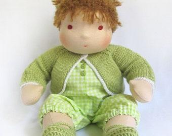 "MADE TO ORDER 14"" (36 cm) Waldorf Doll Baby Girl. Steiner doll-cloth doll-handmade doll-soft doll-waldorfpuppe-rag doll-girls gift-baby doll"