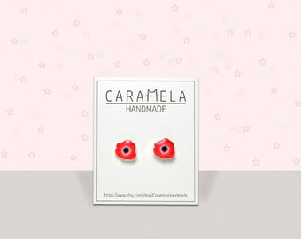 Poppy flower Flowers Stud Earrings Poppy earrings Post earrings Red earrings Remembrance Sunday earrings Gift idea for her