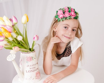 Hot pink fascinator Pink rose fascinator Mini fascinator hat Flower girl fascinator Bridesmaid fascinator floral Pink green hair piece girls