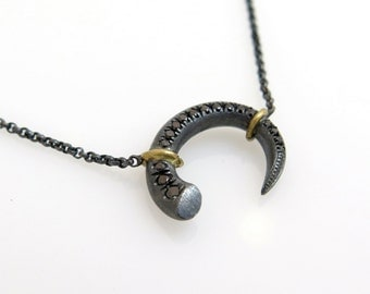 Black diamond necklace, Unique silver jewelry, Diamond necklace, Silver and gold necklace, Pave diamond pendant, Oxidized silver necklace