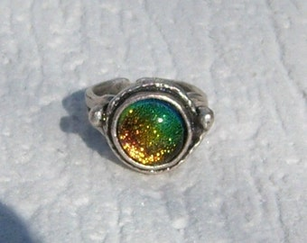 Antique Silver Ring, Dichroic Ring, Statement Ring,Adjustable Ring, Fused Glass Ring,Fused Glass Jewelry, Multicolor Glass, Silver Ring,DR04