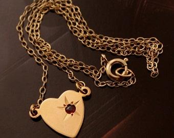 Vintage Heart with Garnet Necklace, Signed Danecraft 1/20 12K Gold Fill