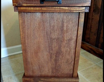 Wood Trash Can, Solid Wood Garbage Can, Rustic Home Decor, Kitchen Decor,