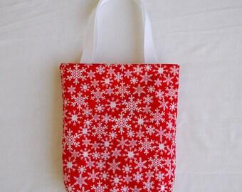Christmas Fabric Gift Bag/ Secret Santa Bag/ Holiday Goody Bag- Snowflakes on Red