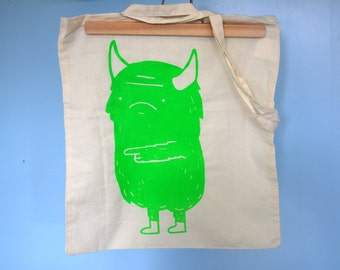 Monster screen print canvas bag limited edition (tote bag) Neon GREEN