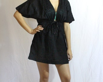Women's Black Swimsuit Coverup, Womens Beach Coverup, Swim Dress Coverup