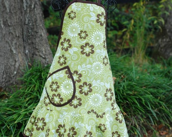 Adult Apron / Green Brown Floral Apron with Brown Trim