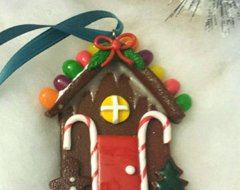 Candy Covered Gingerbread House Miniature Food Clay Christmas Ornament
