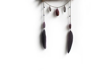 Driftwood Dreamcatcher with Preserved Purple Feathers and Brass Chain