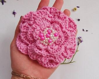 Crochet flower, volume pink flower, flover surround , large crochet flower, decoration flower, flower with beads, crochet pink brooch