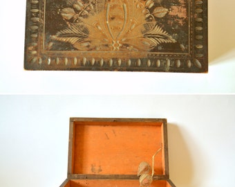 15% OFF Vintage Wood Box, Carved Wooden Box, Lidded Box with Intricate Carving Decoration, Folk Art Traditional Wood Box, Hand Carved Box