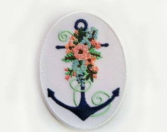 """Beautiful Anchor with Flowers Oval - Iron On Patch - 2""""w X 2.75""""T - Iron On or Sew On Patch Appliqué"""