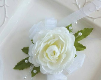 ON SALE Ivory Wedding Corsage Wrist Corsage