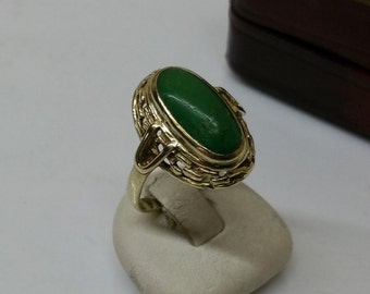 Old Ring 333 gold with aventurine shabby vintage GR508
