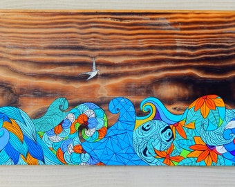 Hand painted Reclaimed wood. Waves by Malu Castro