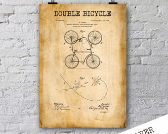 Double Bicycle Patent Print| Cycling Poster| Gift for Bicycler| Apartment Wall Decor| Patent Poster