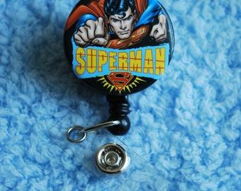 "Licensed DC Product Superman ""Flying"" Swivel Back Alligator Clip ID Badge Holder 30"" Retractable Reel"
