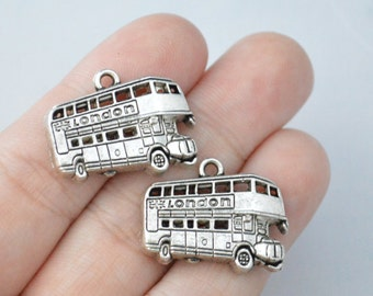 4 Pcs London Bus Charms Antique Silver Tone 19x25mm - YD1070