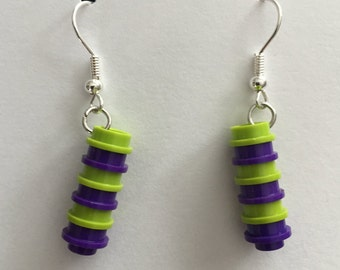 Lime green and purple Lego earrings